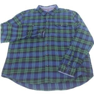 Woolrich Blue Green Plaid Long Sleeve Button Shirt
